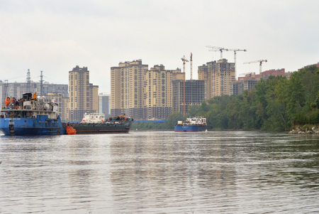 View of Neva river, outskirts of St.Petersburg at cloud day, Russia.