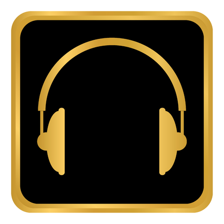 Headphones icon on black background. Vector illustration.