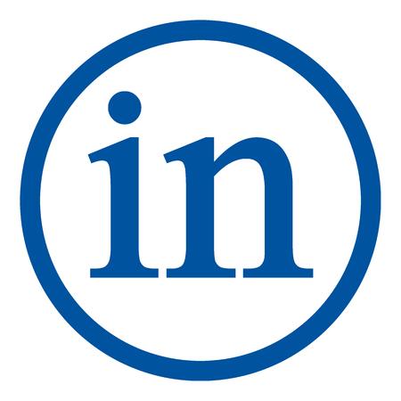 Linkedin icon on white background. Social media symbol. Vector illustration.