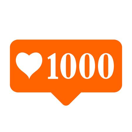 New 1000 like icon on white background. Vector illustration. Ilustrace