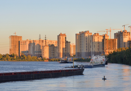 View of Neva river on outskirts of St.Petersburg at sunset, Russia.