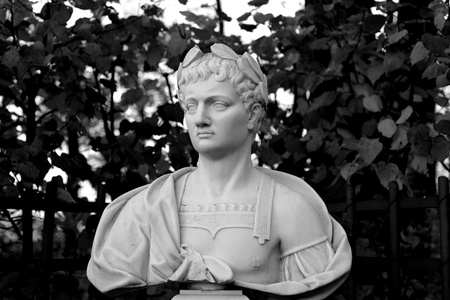 Statue of Titus Flavius Vespasianus in Summer Garden, St.Petersburg, Russia. The Roman emperor. Black and white.