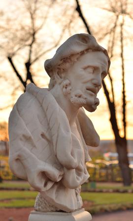 Aristotle ancient Greek philosopher in Summer Garden at evening, St.Petersburg, Russia.