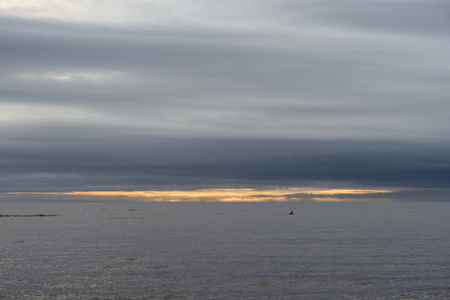 Dark cloud over the Gulf of Finland of Baltic Sea, Russia.