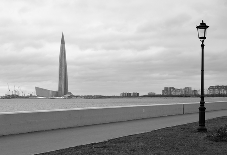 Embankment on coast of Gulf of Finland of Baltic Sea in St.Petersburg, Russia. Black and white. Stock Photo