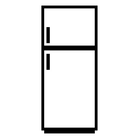 Refrigerator icon on white background. Kitchen equipment. Vector illustration.