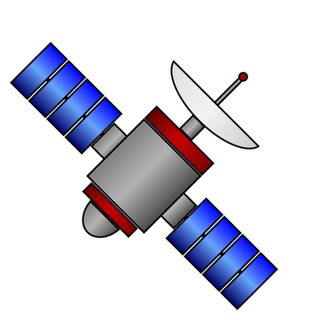 Space satellite icon on white background. Vector illustration.