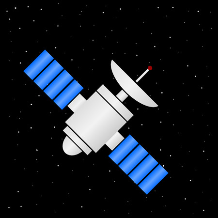 Space satellite icon on stars night sky background. Vector illustration. Ilustração
