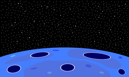 Space background with planet and starry sky.