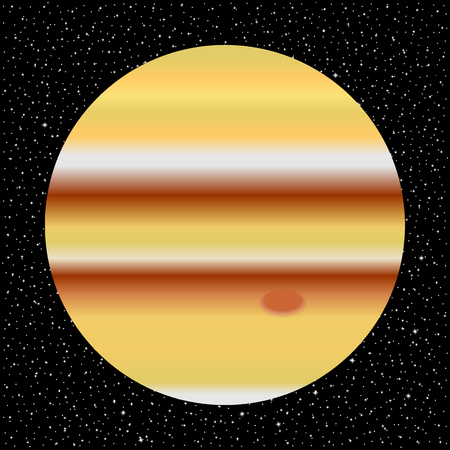 Space background with planet Jupiter and starry sky.