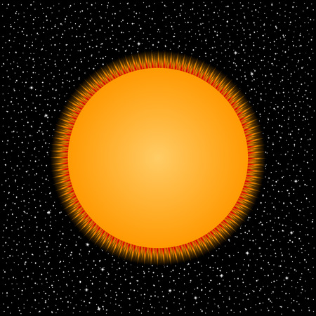 Yellow star on cosmic background. Vector illustration. Stock Illustratie