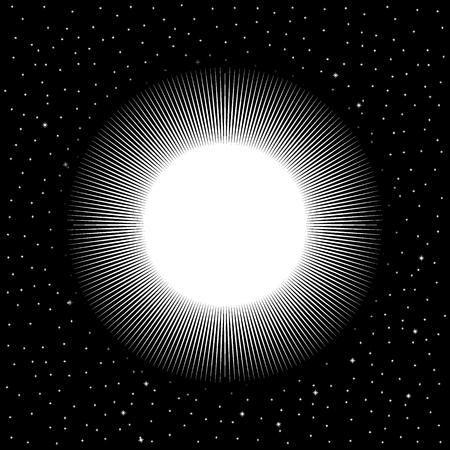 White star on cosmic background. Vector illustration.