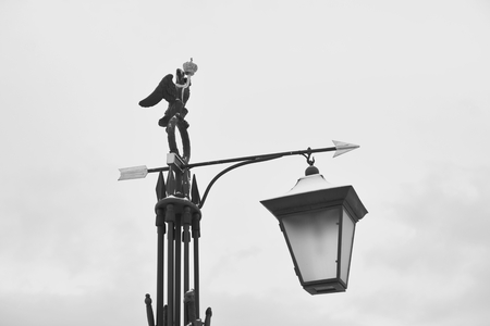 Street lantern on Ioannovsky Bridge in St.Petersburg, Russia. Black and white.