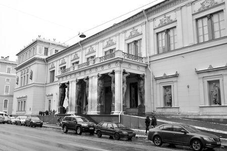 SAINT PETERSBURG, RUSSIA - 30 DECEMBER 2018: Building of New Hermitage on Millionnaya Street in center of St.Petersburg. Black and white.
