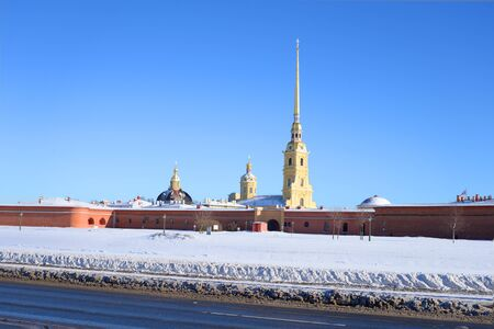 Peter and Paul Fortress and frozen Neva river in St.Petersburg, Russia.
