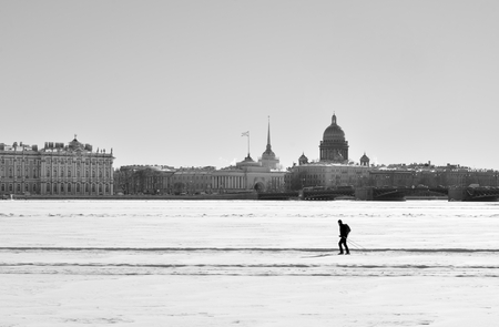 Frozen Neva River at winter in center of St.Petersburg, Russia. Black and white.