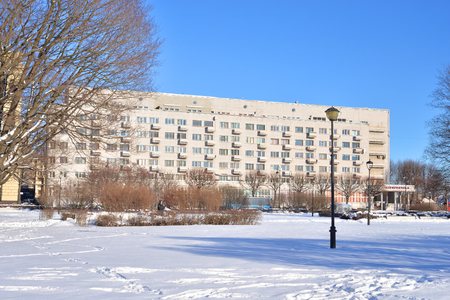 ST.PETERSBURG, RUSSIA - 6 MARCH 2019: The house of political prisoners is a residential building of the constructivism in St. Petersburg, Russia.