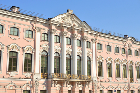 Stroganov palace on Moika River Embankment at sunny day in Saint Petersburg, Russia.