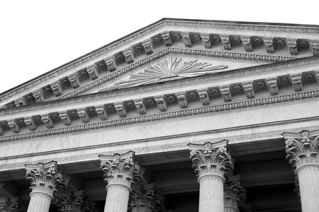 Pediment of St. Isaac Cathedral in Saint Petersburg, Russia. Black and white. Reklamní fotografie - 122534300
