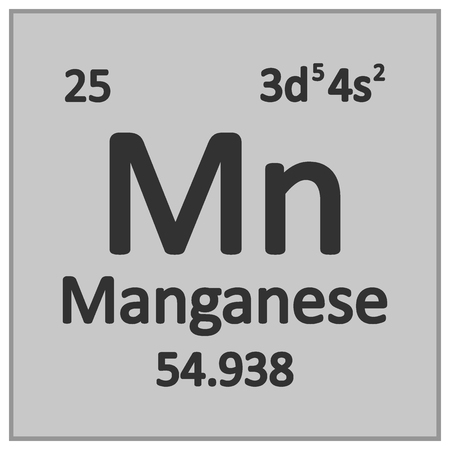 Periodic table element manganese icon on white background. Vector illustration.
