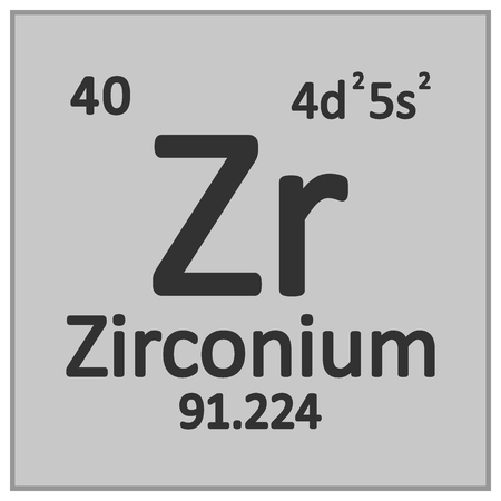 Periodic table element zirconium icon on white background. Vector illustration. Banco de Imagens - 125490817