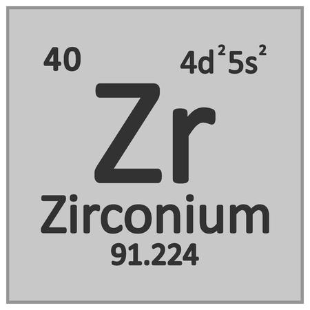 Periodic table element zirconium icon on white background. Vector illustration. Banco de Imagens - 125490819