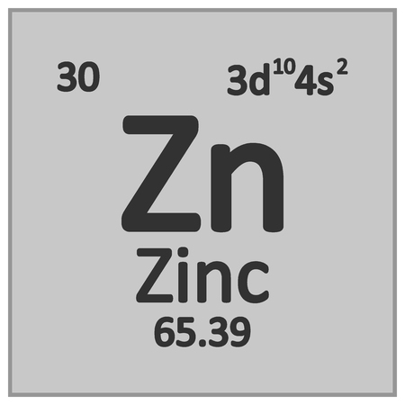 Periodic table element zinc icon on white background. Vector illustration. Banco de Imagens - 125490820