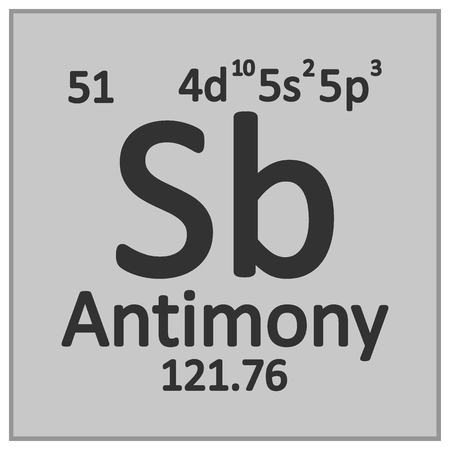 Periodic table element antimony icon on white background. Vector illustration. Banco de Imagens - 125490822