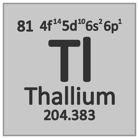 Periodic table element thallium icon on white background. Vector illustration. Ilustração