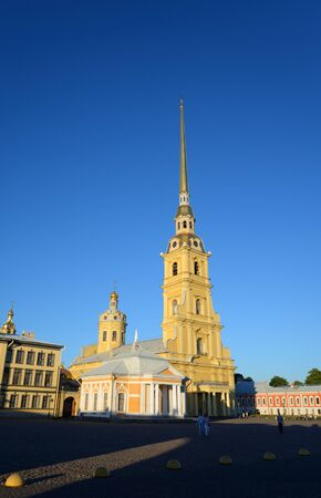 Peter and Paul Cathedral at sunny day in Saint Petersburg, Russia.