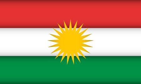Flag of Kurdistan. Vector illustration. Patriotic background.