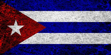 Flag of Cuba. Illustration in grunge style.