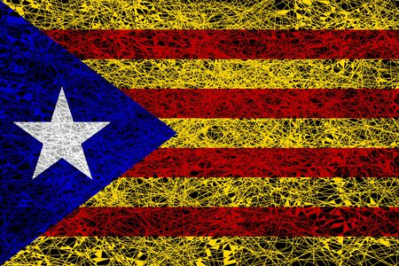 Flag of Catalonia. Illustration in grunge style.