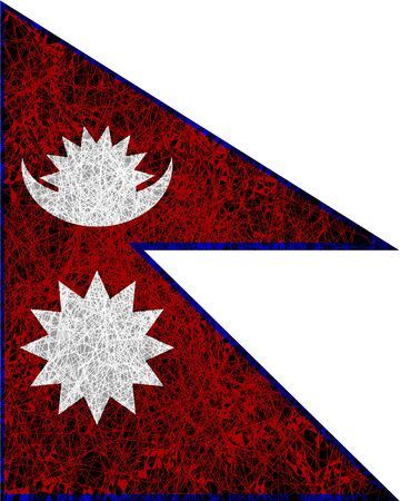 Flag of Nepal. Illustration in grunge style.