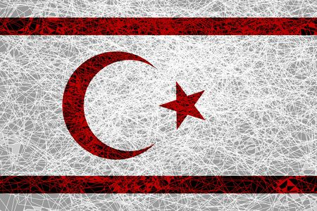 Flag of the Turkish Republic of Northern Cyprus. Illustration in grunge style.