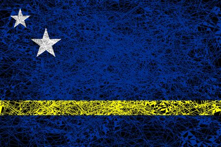 Flag of Curacao. Illustration in grunge style.