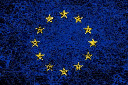 Flag of Europe. Illustration in grunge style.