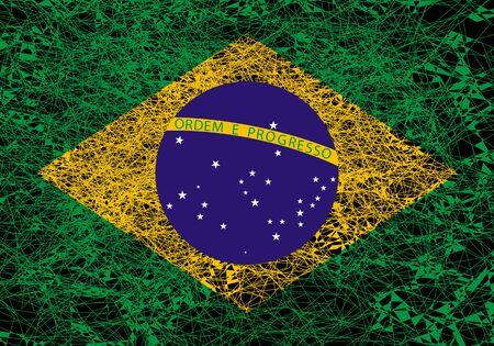 Flag of Brazil. Illustration in grunge style.