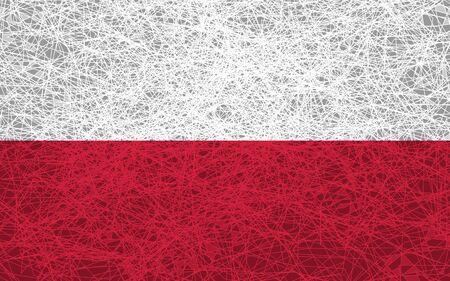 Flag of Poland. Illustration in grunge style.