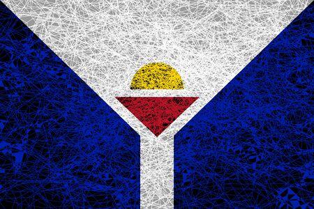 Flag of Saint Martin. Illustration in grunge style.