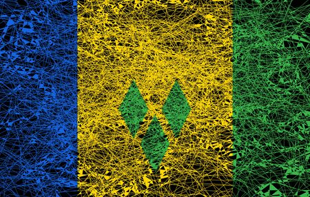 Flag of Saint Vincent and the Grenadines. Illustration in grunge style.