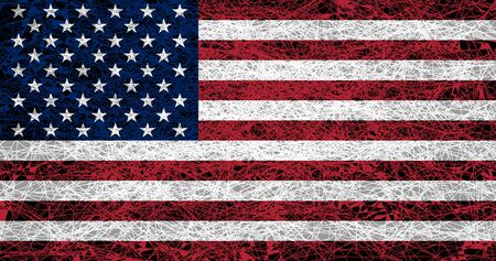 Flag of the United States. Illustration in grunge style.