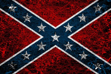 National flag of the Confederate States of America. Illustration in grunge style.