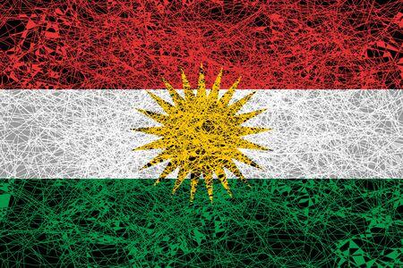 Flag of Kurdistan. Illustration in grunge style.