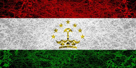 Flag of Tajikistan. Illustration in grunge style.