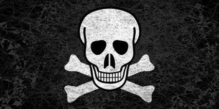 Jolly Roger flag. Illustration in grunge style.