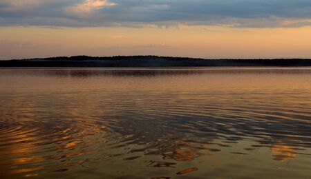 Lake at sunset in Karelian Isthmus, Leningrad region, Russia. Stockfoto