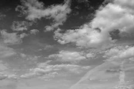 Cloud sky, may be used as background. Black and white.