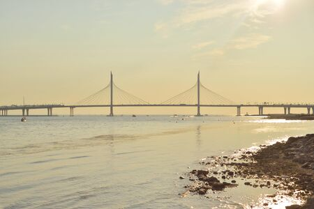 Cable bridge across the Petrovsky fairway of Neva River in Saint Petersburg, Russia. Part of the Western high-speed diameter.