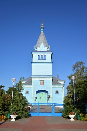 The wooden Orthodox Ascension Church, together with the bell tower, was built in 1938, Stolin, Belarus.